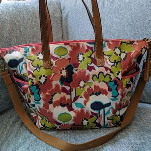 Large fossil crossbody tote